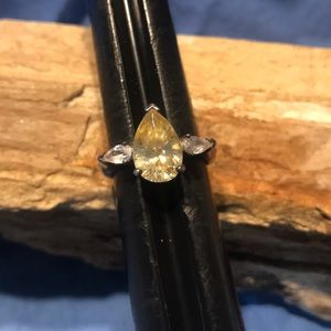 Sterling Silver Ring with Yellow Topaz & CZ